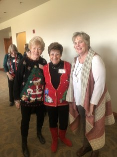 Sue Buchanan, Anne Grossman, Kay Lund all loking very festive
