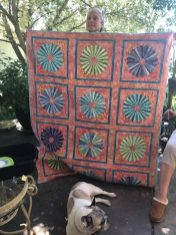 It was great to see Kelly's finished quilt in person. Bo liked it too!