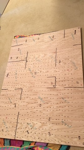 3x4 ft board. Black lines represent impassible mountains.