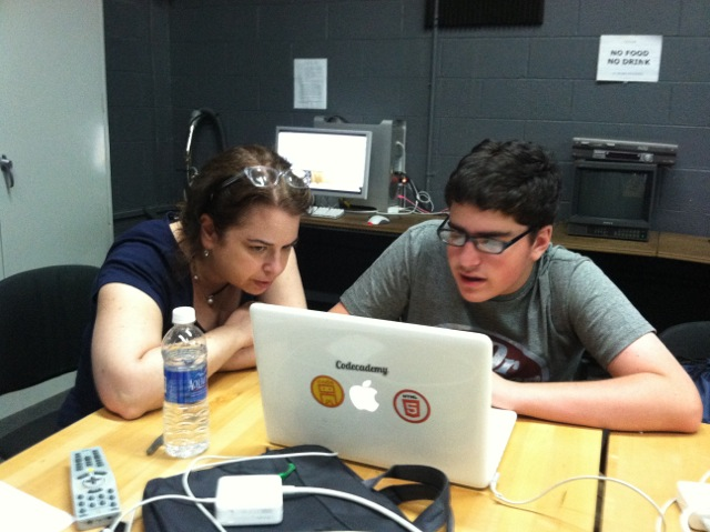 Two students at Tech Kids Unlimited