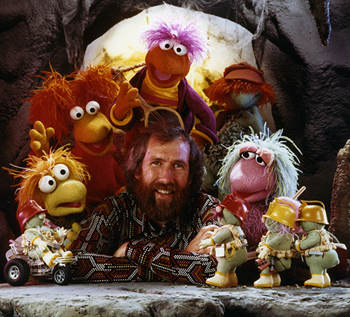 Jim Henson with Fraggle Rock puppets
