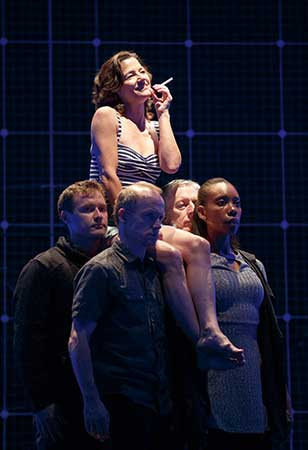 Felicity Jones Latta as Judy and the touring production of The Curious Incident of the Dog in the Night-Time. Photo: Joan Marcus.