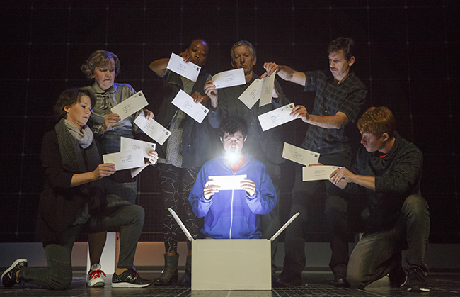 Adam Langdon as Christopher Boone and the touring production of The Curious Incident of the Dog in the Night-Time. Photo: Joan Marcus.