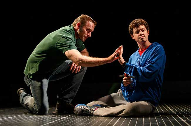 Gene Gillette as Ed and Adam Langdon as Christopher Boone in the touring production of The Curious Incident of the Dog in the Night-Time. Photo: Joan Marcus.