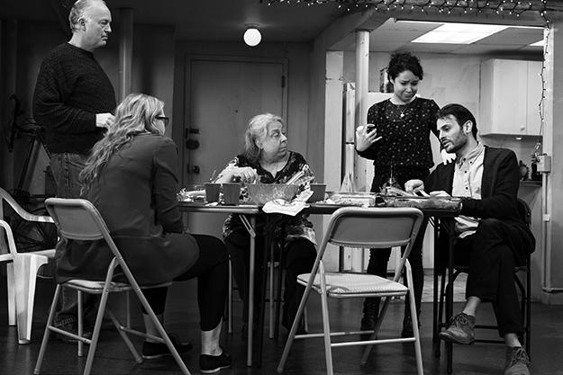 """The Humans"" (Broadway production) Reed Birney, Jayne Houdyshell, Sarah Steele, Arian Moayed, Cassie Beck (Photo by Brigitte Lacombe)"