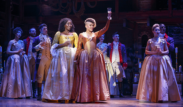 "Amber Iman, Emmy Raver-Lampman and Hamilton Co. in ""Hamilton"" National Tour (Photo by Joan Marcus) on equality365.com"