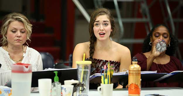 """During a reading of """"Mamma Mia!"""" at The 5th Avenue Theatre: Eliza Palasz, who makes her 5th Avenue Theatre debut as Sophie Sheridan. (Photo by Jeff Carpenter) on equality365.com"""