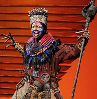 "Buyi Zama as ""Rafiki"" in ""TheLion King"" North American Tour. ©Disney. Photo by Joan Marcus"