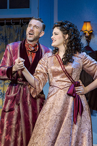 Ben Davis as Fred Graham/Petruchio and Cayman Ilika as Lilli Vanessi/Katharine in Kiss Me, Kate at Seattle's 5th Avenue Theatre- Photo Credit Tracy Martin