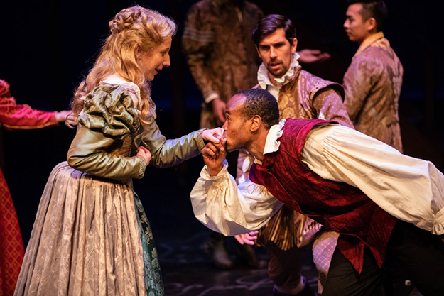 "Chiara Motley, Raphael Jordan and Brian Claudio Smith in Seattle Shakespeare Company's production of ""Shakespeare In Love"" (Photo by Ulman)"