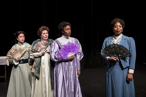 """Laura Lee Caudill, Marianne Savell and Maya Burton in """"Lady Windermere's Fan"""" at Seattle's Taproot Theatre. (Photo by Robert Wade.)"""