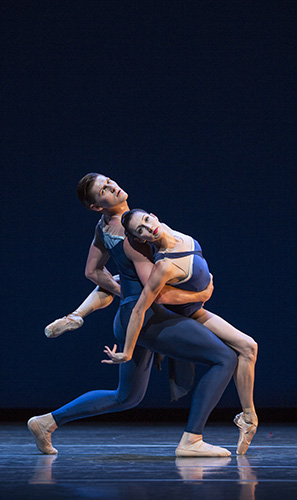 Pacific Northwest Ballet soloist Joshua Grant and principal dancer Maria Chapman in Christopher Wheeldon's Tide Harmonic, which PNB is presenting as part of LOVE & BALLET, June 1 – 10, 2018. (Photo © Angela Sterling)