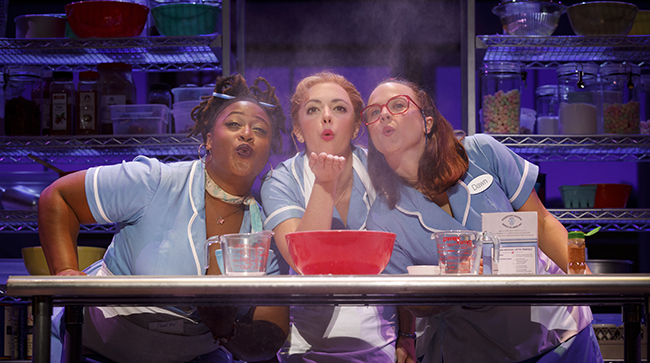 Charity Angel Dawson, Desi Oakley and Lenne Klingaman in the National Tour of WAITRESS (Photo by Joan Mar)