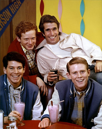 """Don Most, Henry Winkler, Anson WIlliams and Ron Howard of """"Happy Days"""""""