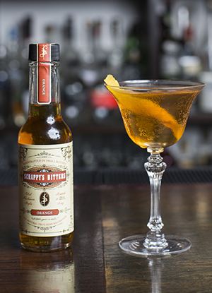 Scrappy's Bitters cocktail with orange bitters