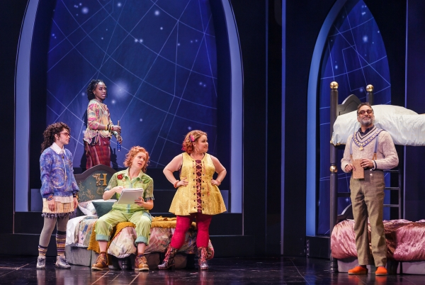Gizel Jiménez (Piper), Kristolyn Lloyd (Faye), Claire Neumann (Holly), Katy Geraghty (Carmella), and Manu Narayan (The King) in Bliss (Photo Credit Mark Kitaoka)