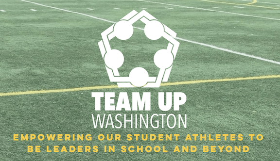 """Screenshot from Team Up Washington's website showing their logo and a the word """"Empowering our student athletes to be leaders in their school and beyond"""""""