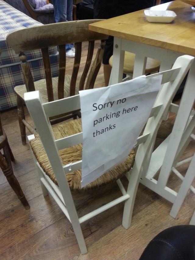 wpid 20140719 114122 e1405871397791 768x1024 - Sign seen on a chair INSIDE a charity shop