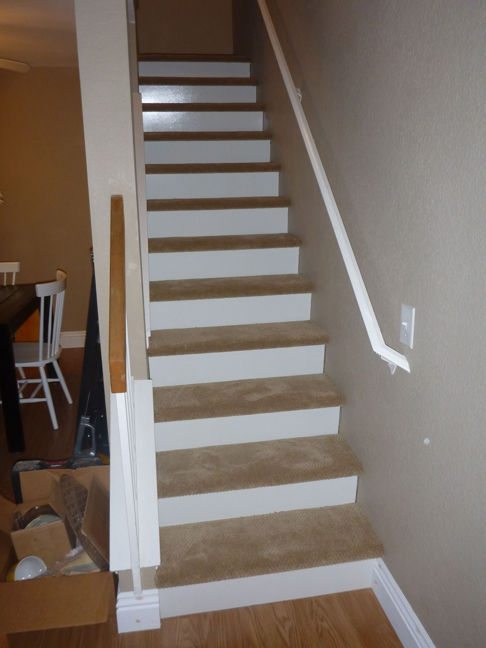 Vinyl Stairs Treads And Risers Our New Stairs 1 8 Inch Wood White   White Oak Stair Risers   Stair Nosing   Handrail   Staircase Makeover   Stair Railing   Paint