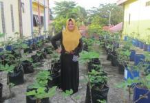 KEBUN TIN. Ritha Adianto di kebun pohon Tin-nya. Lukman Maulana-Bontang Post