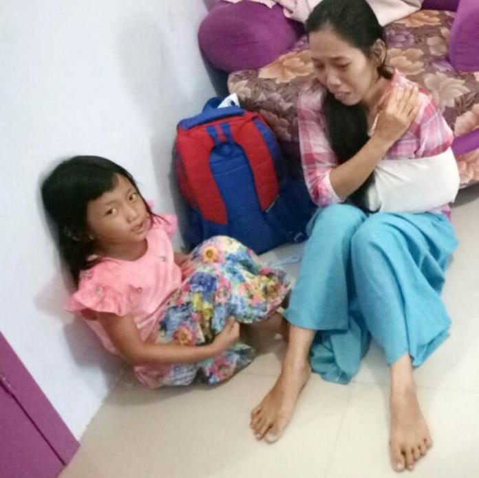 TABRAK LARI. Siti Rafidah, korban tabrak lari yang butuh biaya rumah sakit, Selasa (6/3). Fauzi Yosi Esiska/Jambi Ekspres