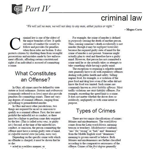 OSBA The Law & You Part IV Criminal Law