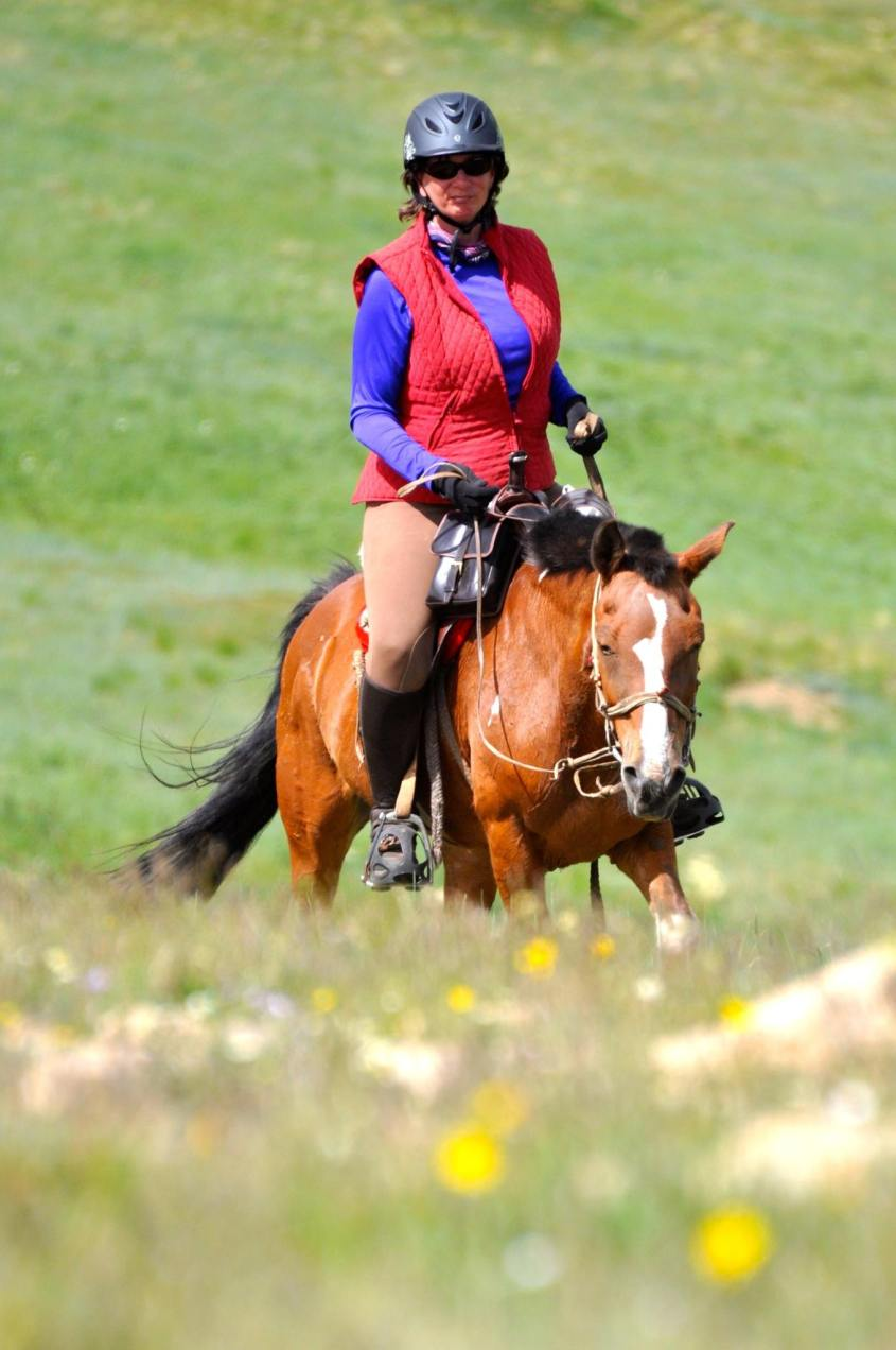 Julie Veloo, chief of the Gobi Gallop, is riding a mongolian horse.