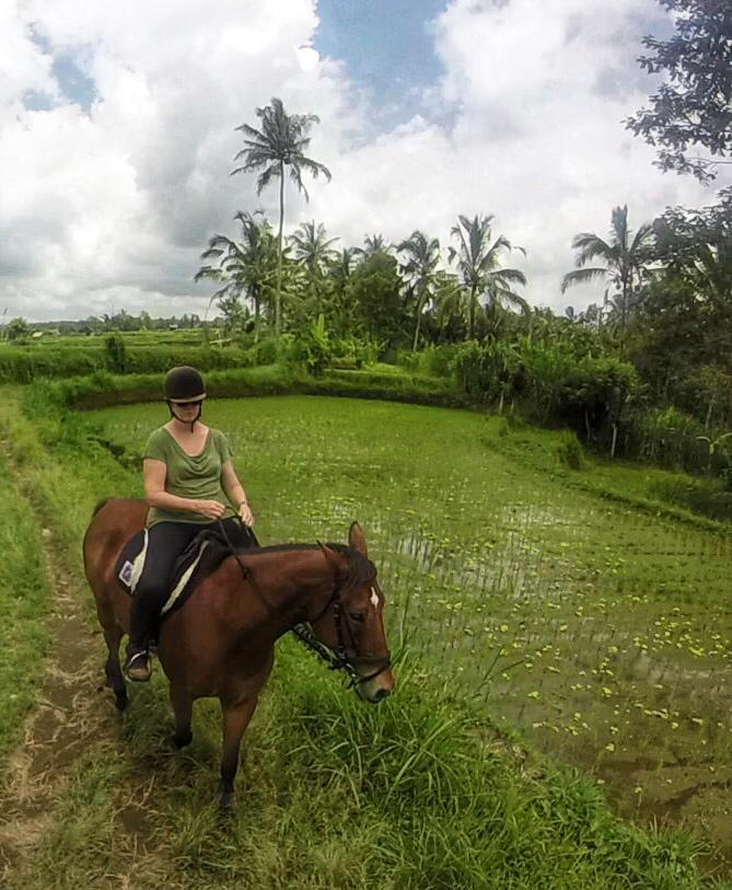 Sandra Kelly enjoying a ride through rice fields in Bali