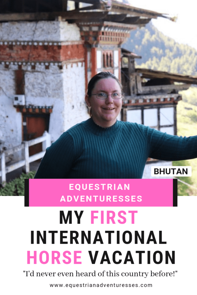 Pinterest photo of Amber in front of a temple in Bhutan.