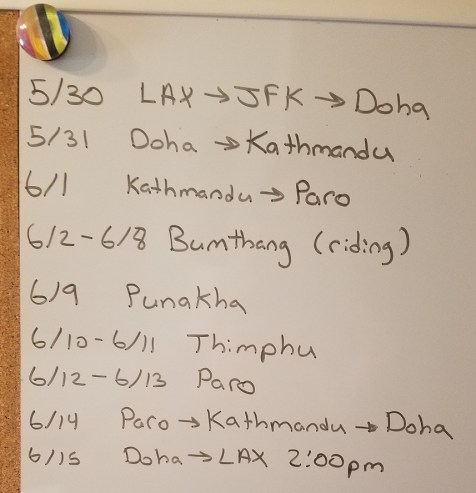 A handwritten schedule for the first time international travel to Bhutan for horseback trail riding