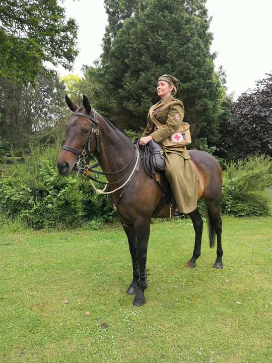 Kate Vigurs during historical re-enactment as first aid nursing yeomanry