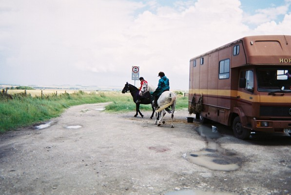 Horse riding in dresses into the unknown on the Ridgeway