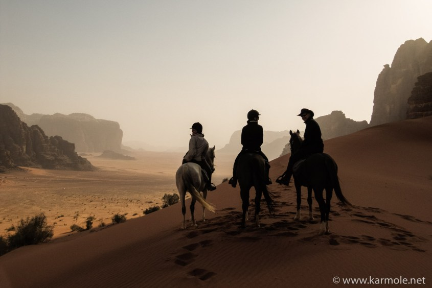 Riding with Bedouins in Wadi Rum, Jordan.