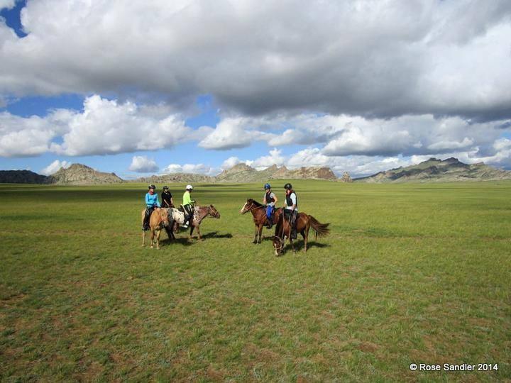 The mongolian steppes on horseback