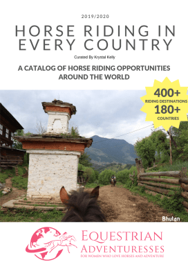 "Cover of the Catalog ""Horse Riding in Every County"" - A Selection of Equestrian Adventures for Women worldwide so you can find the best horse riding holidays"