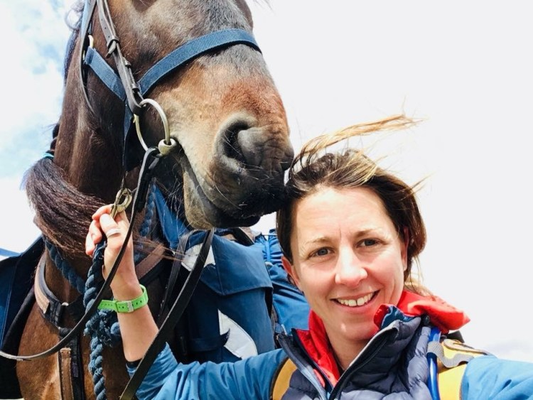A selfie of Clare and Pansy, her Fell pony, while horse trekking in the Lake District