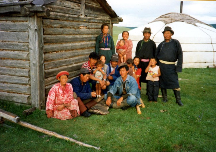 Portrait of a family of reindeer herders in Mongolia