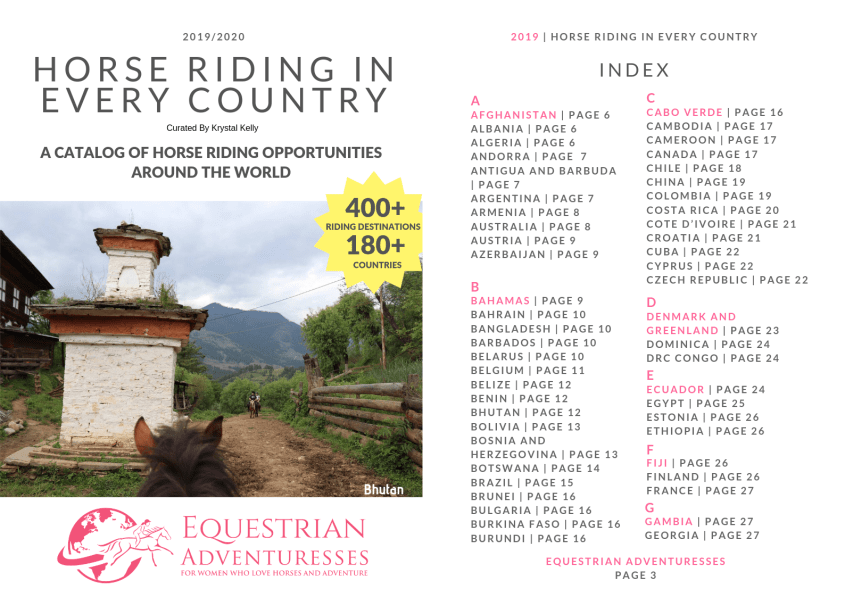 These are the cover and first page of index of our catalog. It lists Equestrian Adventures for Women in Every Country in the world.