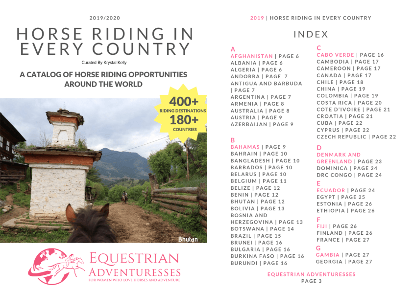 Find Equestrian Adventures for Women in Every Country in this Catalog - cover and first page of index shown