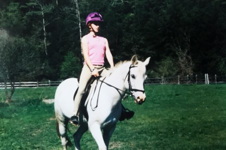 Caitlin on her first pony named Hattie