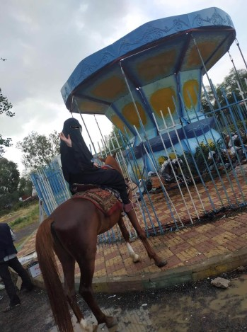 Horse riding in Yemen: A pony ride in a park in Sanaa