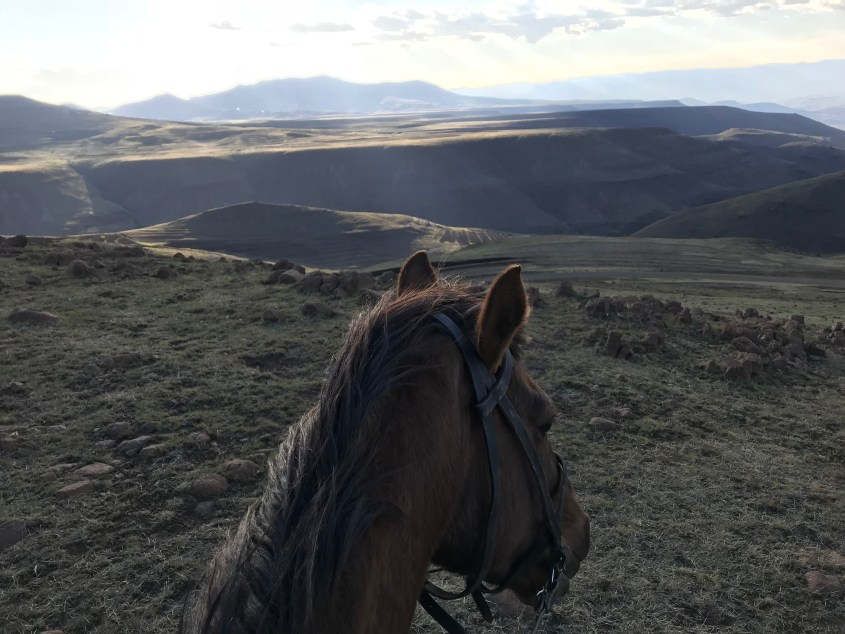 The view over the mountains from horseback during horse trekking in Lesotho