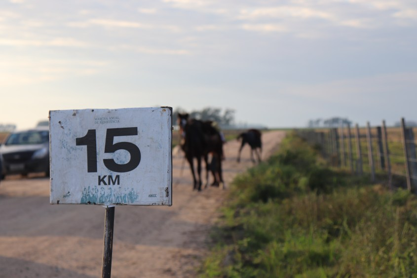 A marker for the 15km checkpoint in Marcha de la Resistencia in Brazilthe
