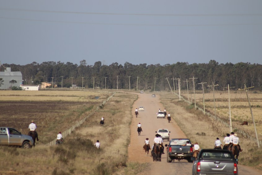 Competitors in the Marcha riding along the road on their Criollo horses