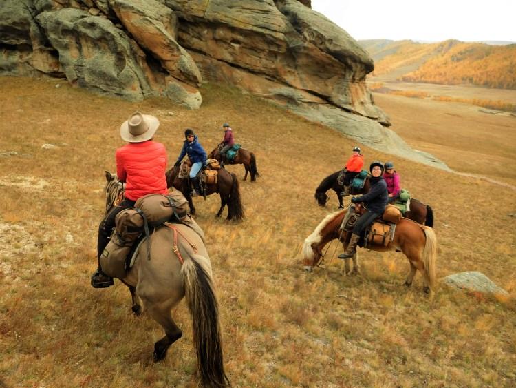 Autumn horse trek in Mongolia