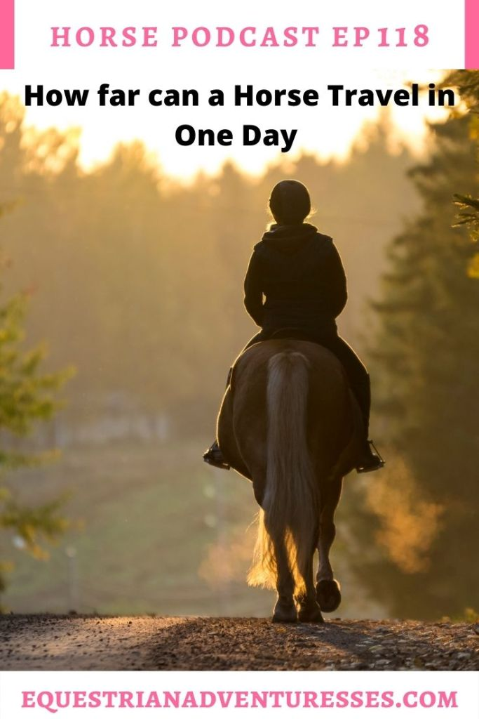Horse and travel podcast pin - Ep 118 How far can a horse travel in one day