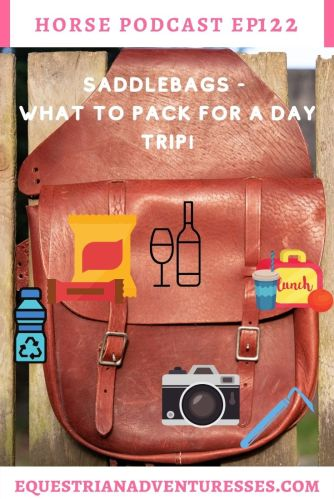 Horse and travel podcast pin - 122: Saddlebags - what to pack for a day ride!