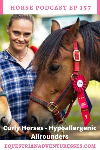 Horse and travel podcast pin - Ep157 Curly Horses