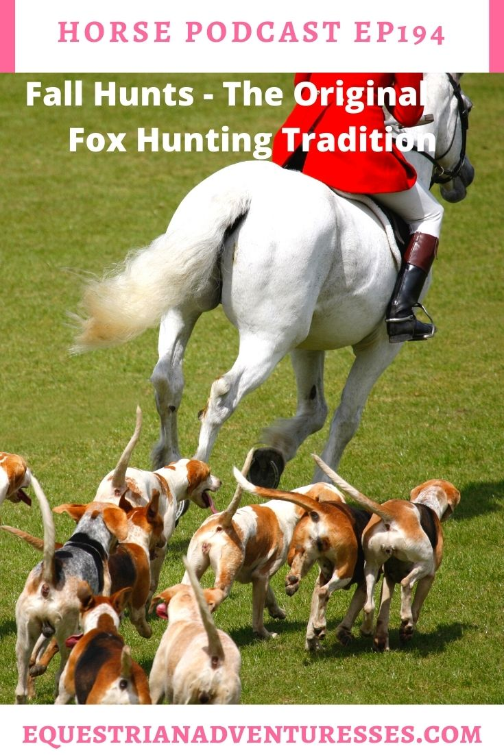 Horse and travel podcast pin - Ep194: Fall Hunts - The Original Fox Hunting Tradition