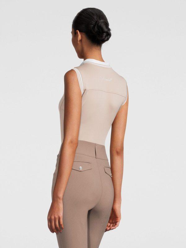 sand sleeveless polo shirt